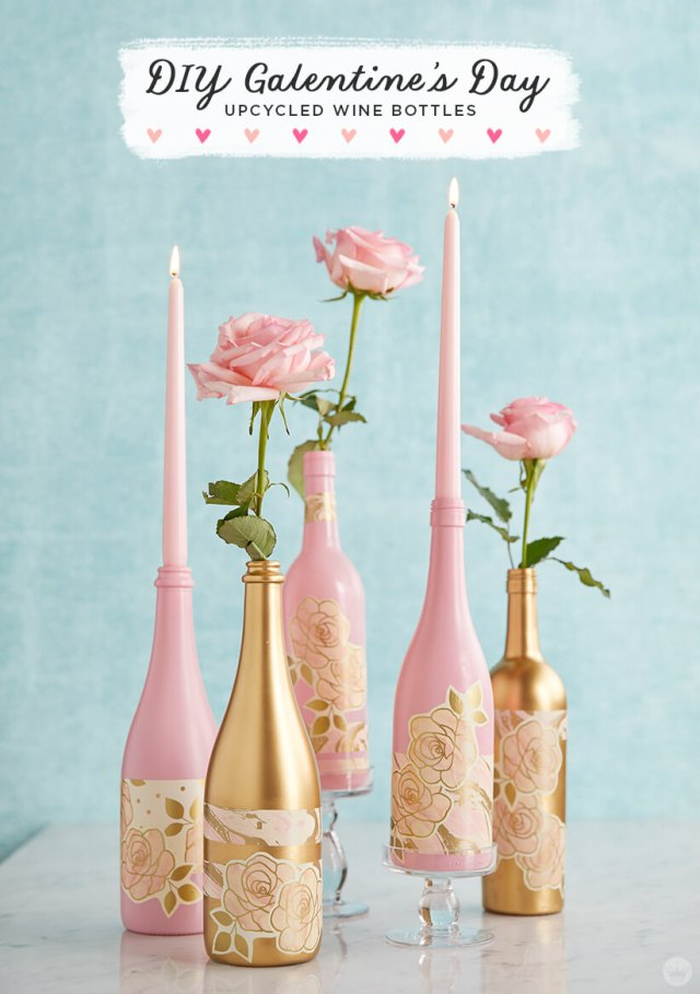 Upcycled wine bottles in pink and gold | thinkmakeshareblog.com