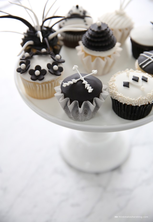 black and white cupcake decorating with hallmark artists