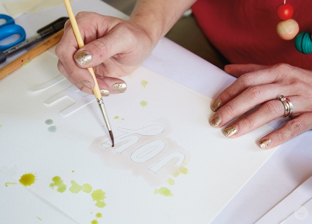 "Example of ""masking,"" a watercolor lettering technique."