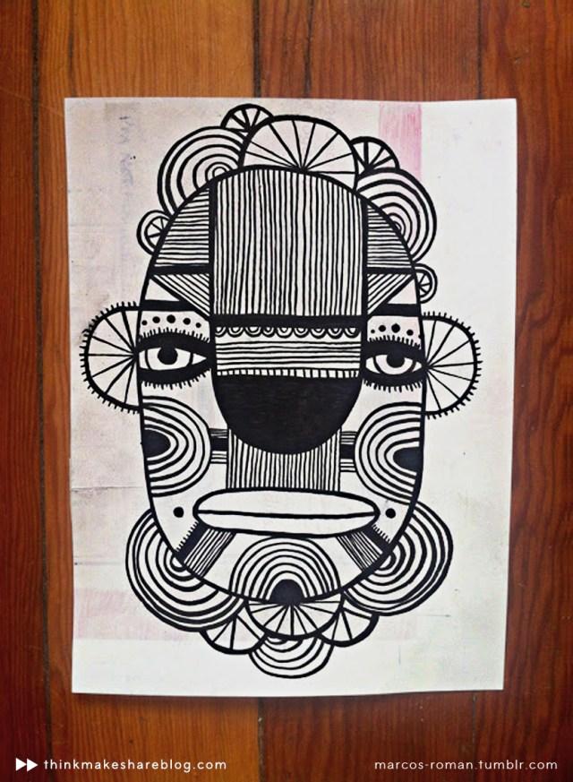 Mask artwork by Marcos Román | thinkmakeshareblog.com