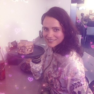 Julia Holding a Nutwave Ice Cream Sandwich - Attila Hildmann Vegan Food Snackbar