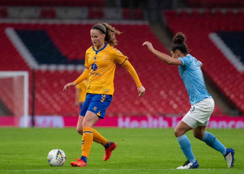 Nicoline Sørensen playing soccer