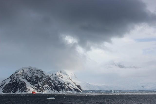 Beautiful ice-covered Antarctic landscape