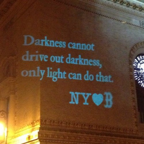 Image of Message Projected on Brooklyn Academy of Music