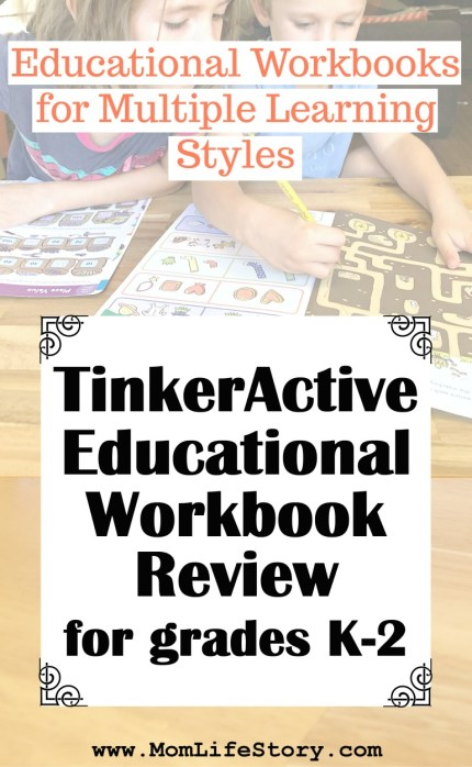 pin for blog post TinkerActive Workbooks Review - Educational Workbooks For All Learning Styles