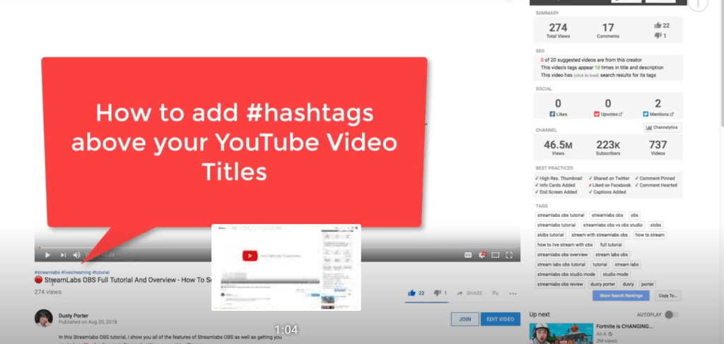 How to Add Hashtags Above YouTube Video Titles