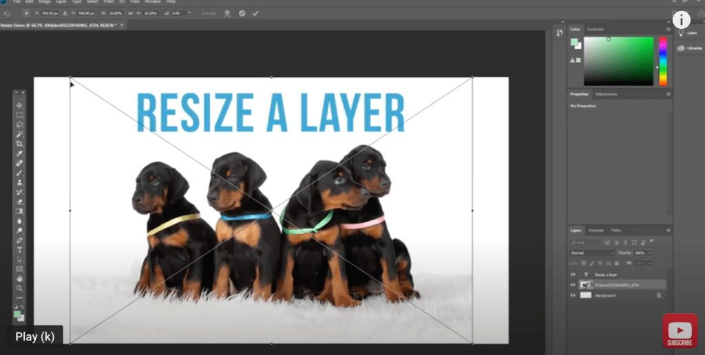 resize a layer in Adobe Photoshop CC
