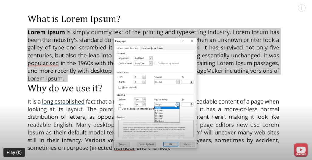 How to Double Space Text in Microsoft Word