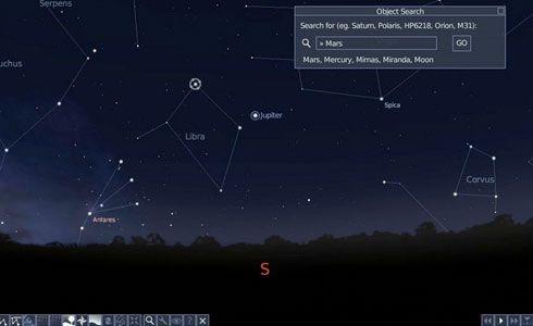 Una captura de Stellarium