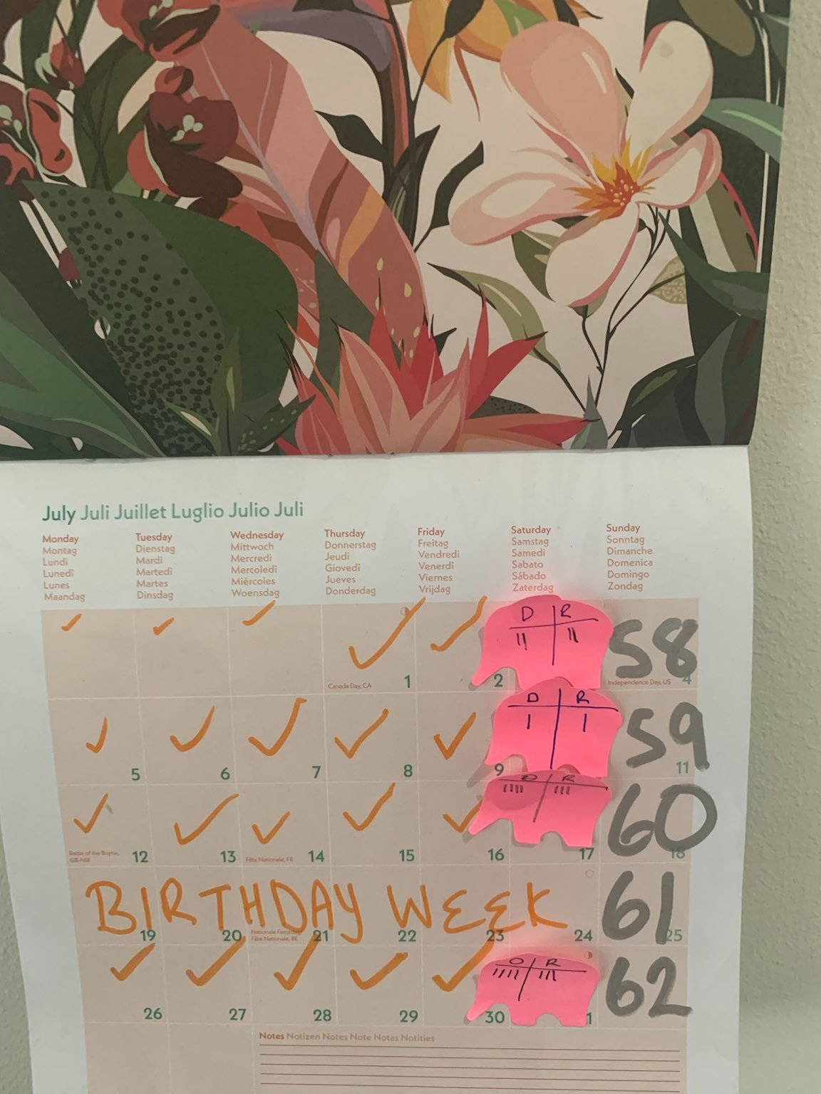 Calendar showing the 3 things I'm trying to be consistent in