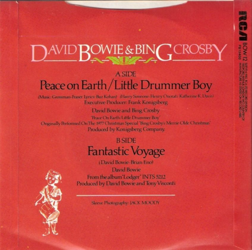 David Bowie and Bing Crosby - Peace On Earth / Little Drummer Boy - 1977 - Single Reverse