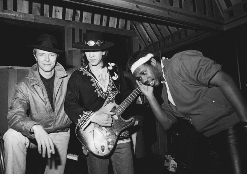 David Bowie, Stevie Ray Vaughan & Nile Rodgers during the Let's Dance sessions