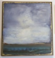 """Shifting Plains II"" by Sarah Stockstill in a floater frame with gold leaving around the edges"