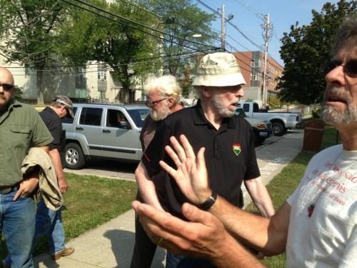 Anti-gun Oberlin residents (right) debating with gun owners