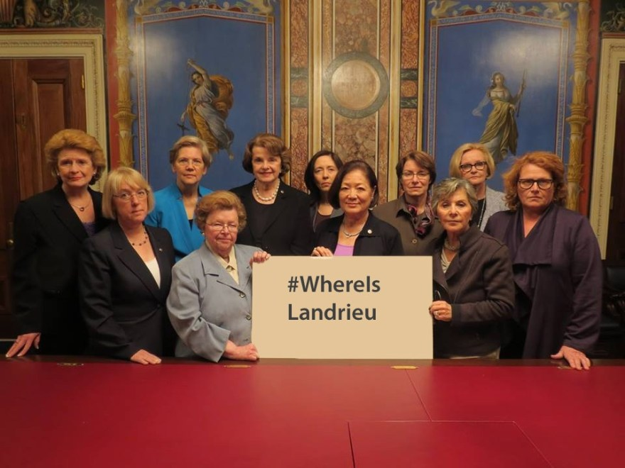 Seems as if Senator Landrieu is hiding from these ladies.
