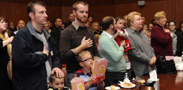Adoptive parents and children at the National Adoption Day celebration in Springfield, Massachusetts (photo: MARE)