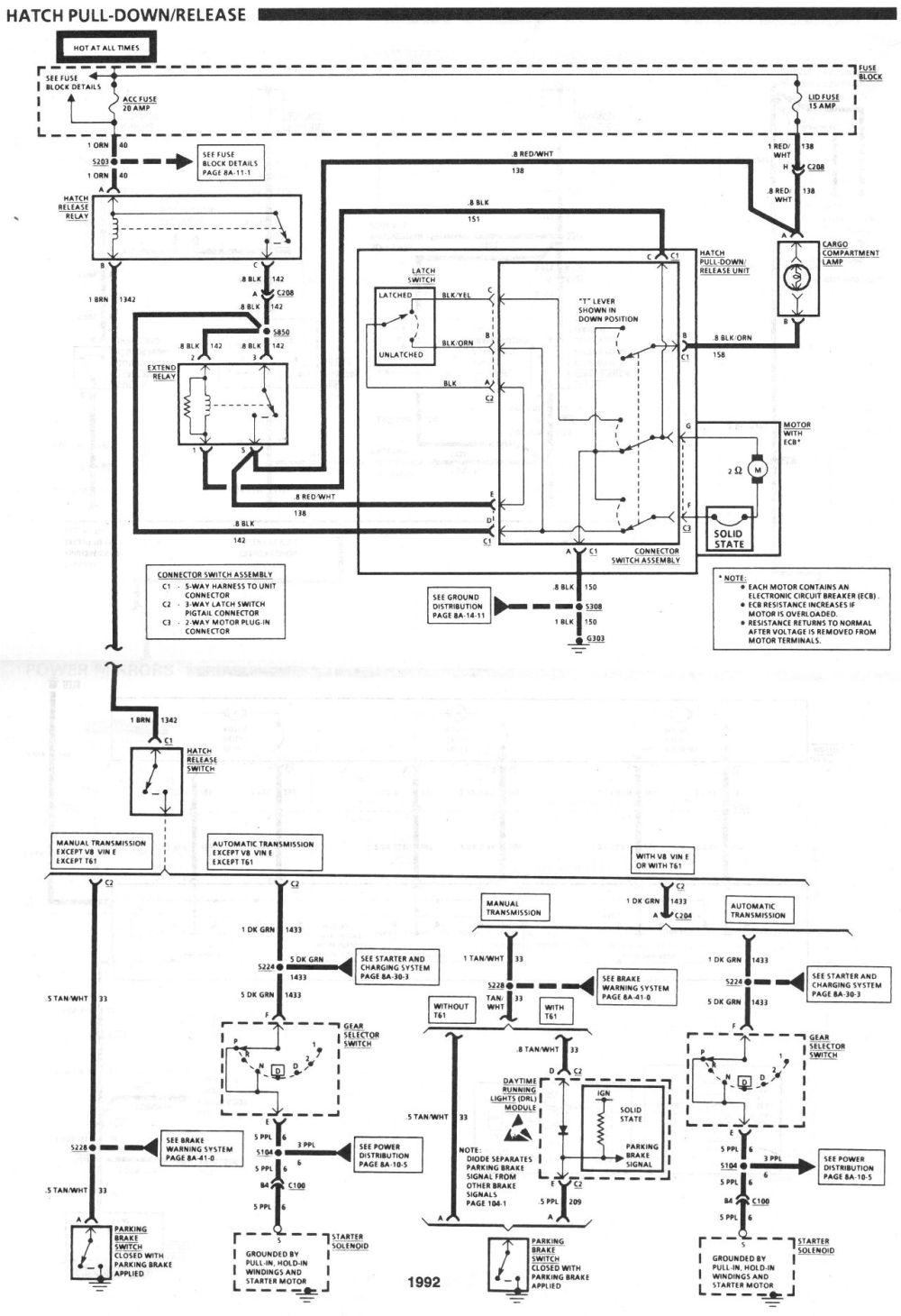 medium resolution of 1992 camaro rear hatch wiring third generation f body 700r4 wiring schematic