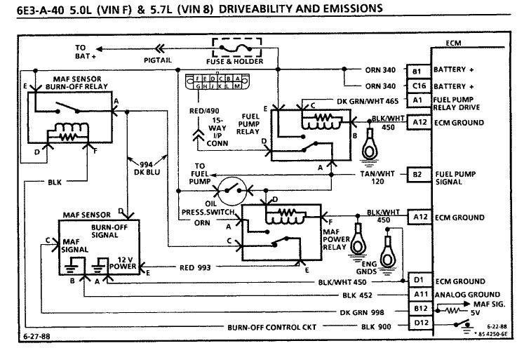 1985 maf air flow fuel pump circuit
