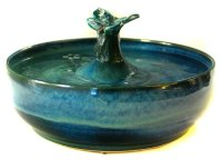 Ceramic Cat fountain with a butterfly in under-glazes and ...