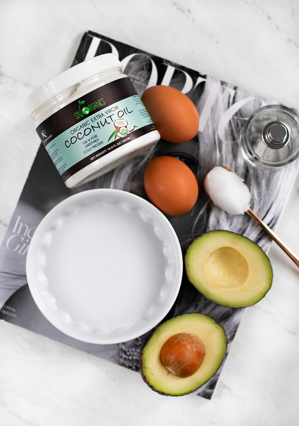 Avocado and coconut oil hair mask