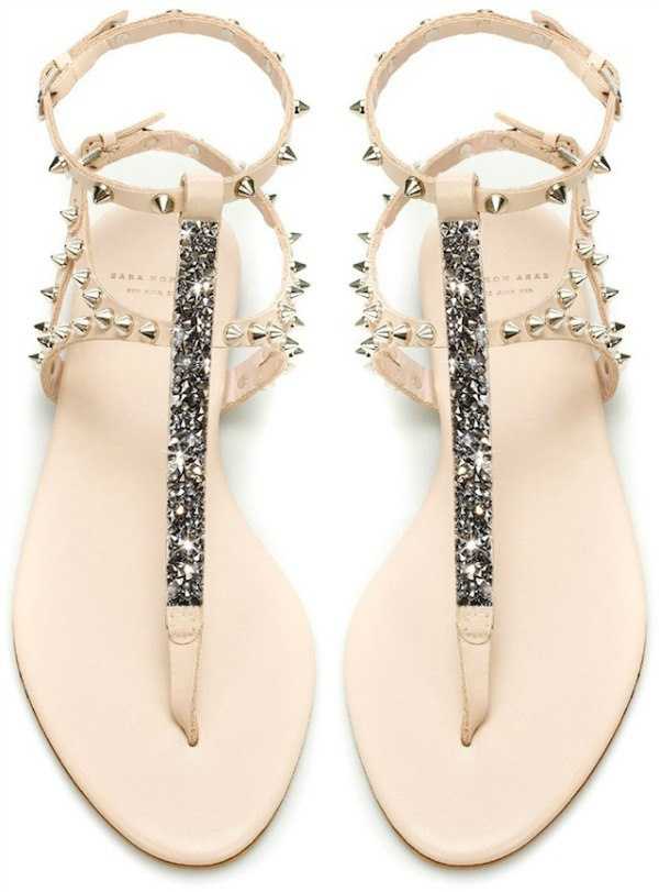 zara studded sandal made with swarovski elements