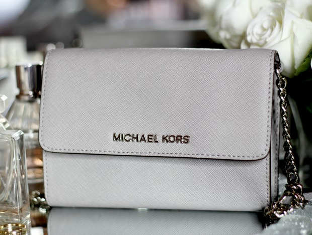Michael Kors large jet set saffiano leather crossbody bag pearl gray