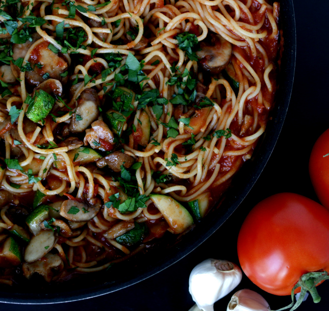 Pasta Marinara with msuhroom and zucchini