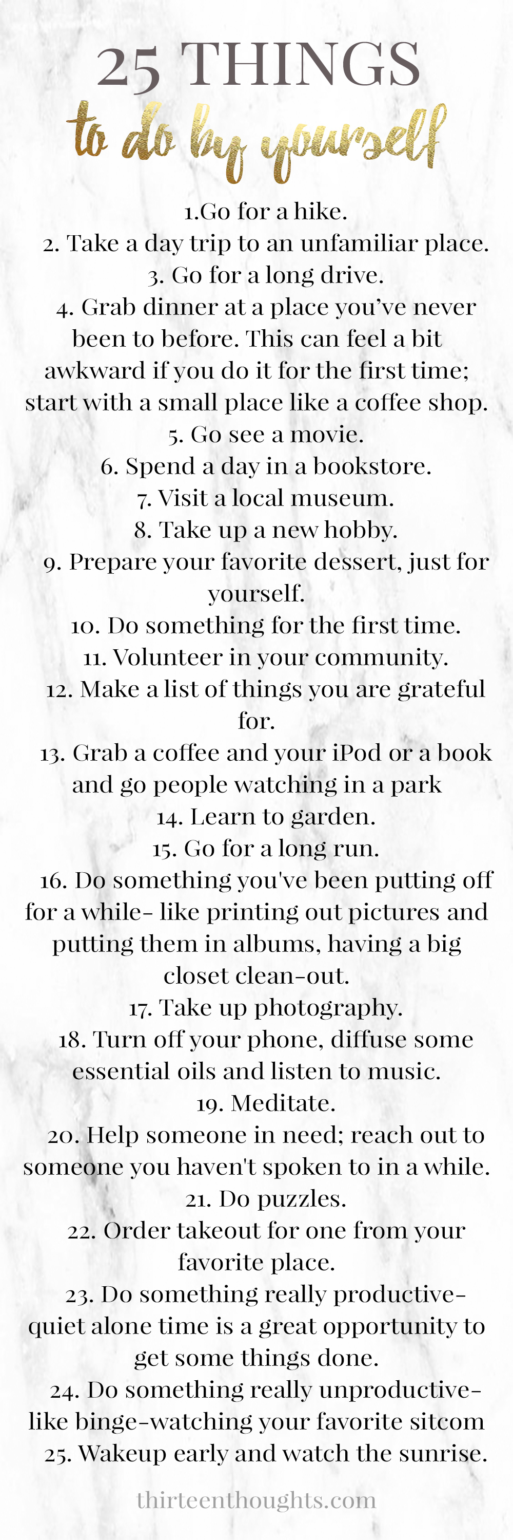 25 Things to do by yourself  printable list  THIRTEEN
