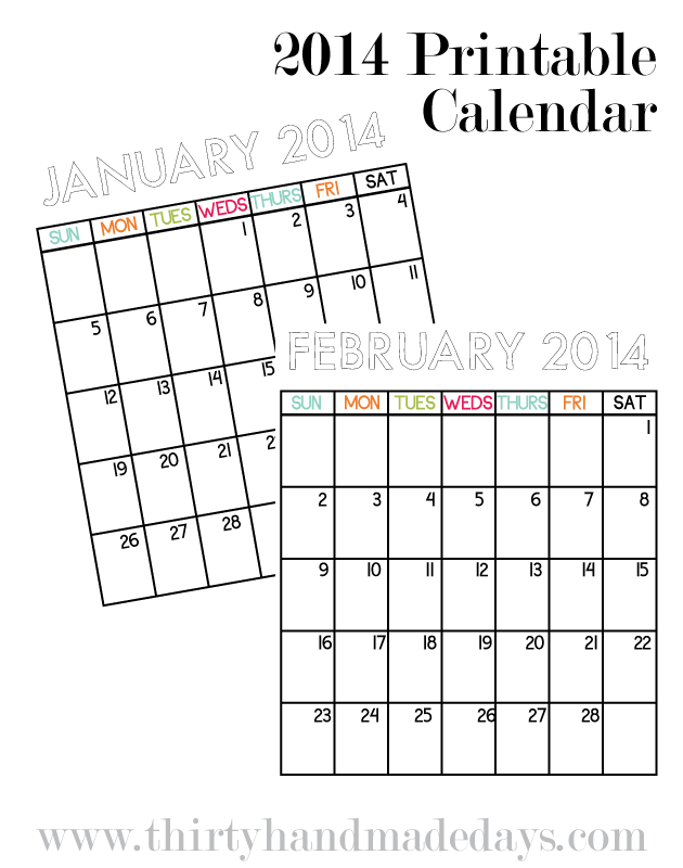 Updated Printable Calendar 2014