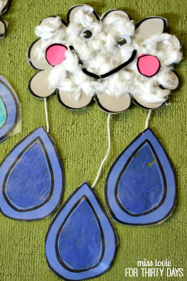 You'll need lots of cotton balls for this super cute rain cloud craft for kids from the kindergarten connection. Kids Craft Spring Rain Cloud