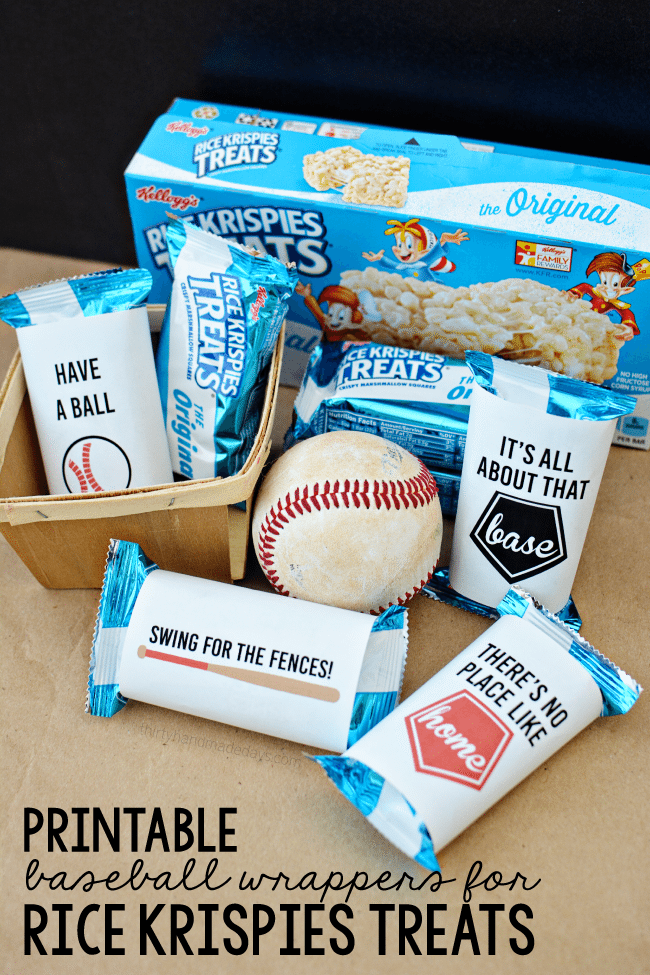 Printable Baseball Wrappers For Rice Krispies Treats
