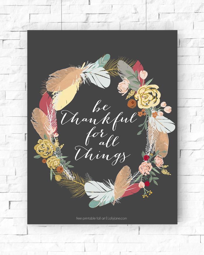 Be Thankful Printable