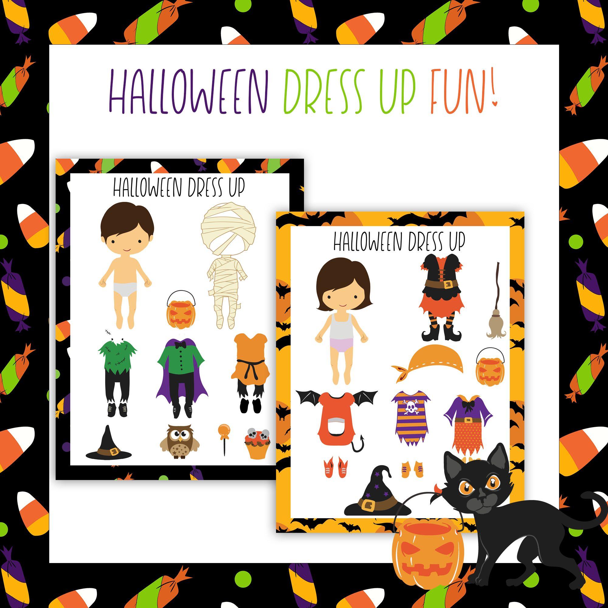 Printable Halloween Dress Up Dolls