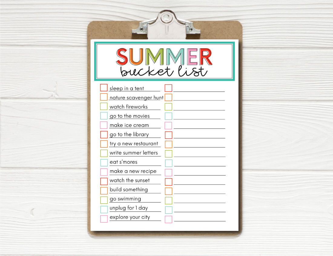 Printable Summer Bucket List From 30daysblog