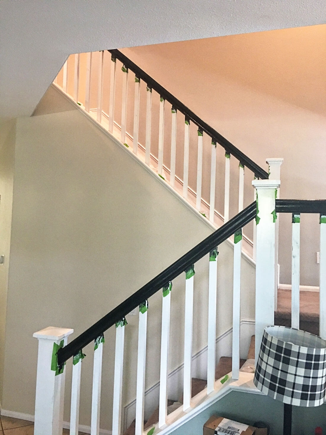 How To Paint Your Stair Railing And Banister Black From 30Daysblog | Black Banister White Spindles | Black Railing | Funky | Victorian | Iron Spindle White Catwalk Brown Railing | White Mahogany Hand Rail Oak