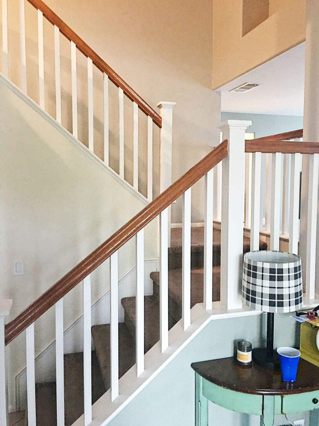 How To Paint Your Stair Railing And Banister Black From 30Daysblog | Banister Rail And Spindles | Component | Interior | Lj Smith | Newel Post | Porch