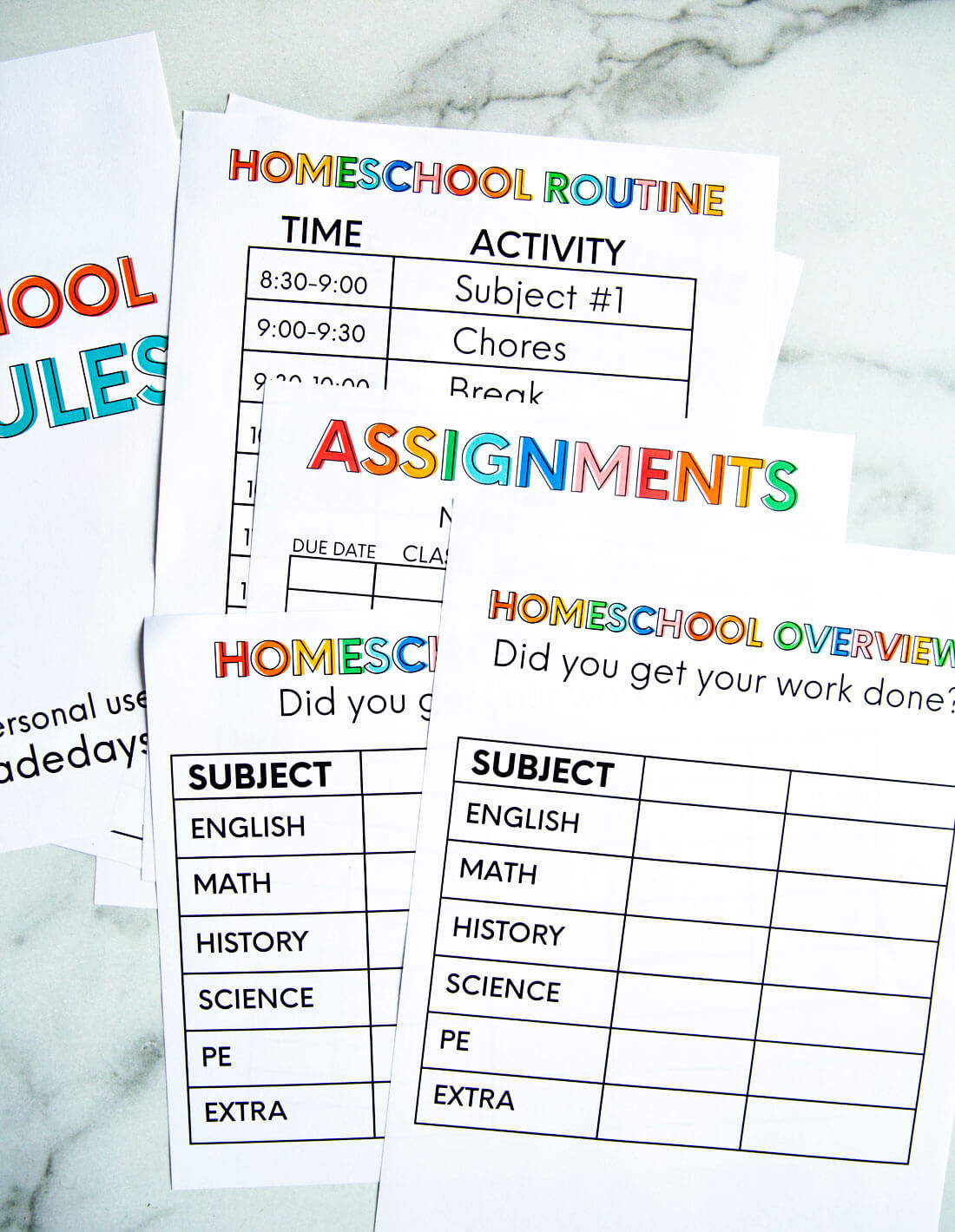 Printable Homeschool Schedule From Thirty Handmade Days
