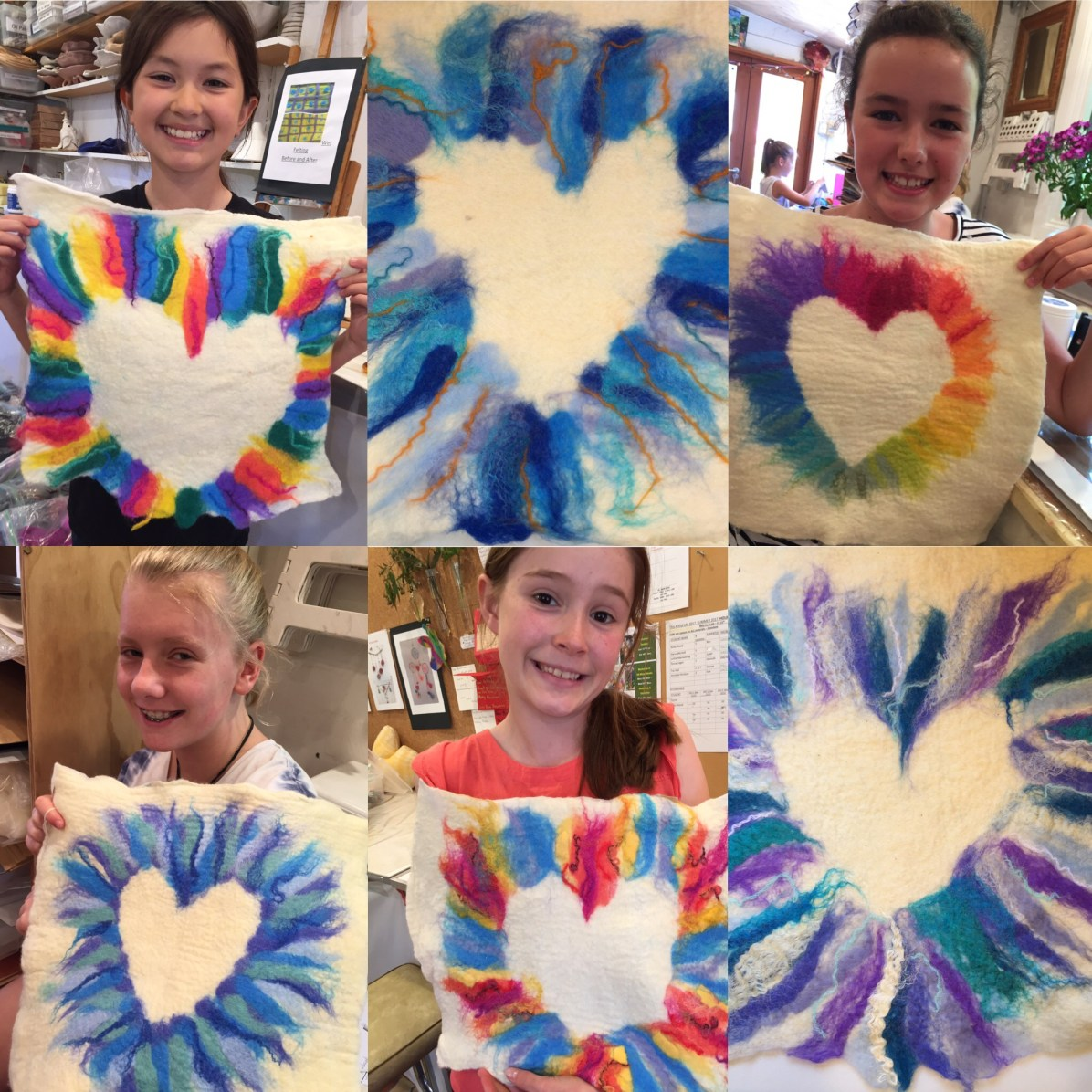 2017 Summer Textiles Holiday Workshop - Wet felted Heart Cushions