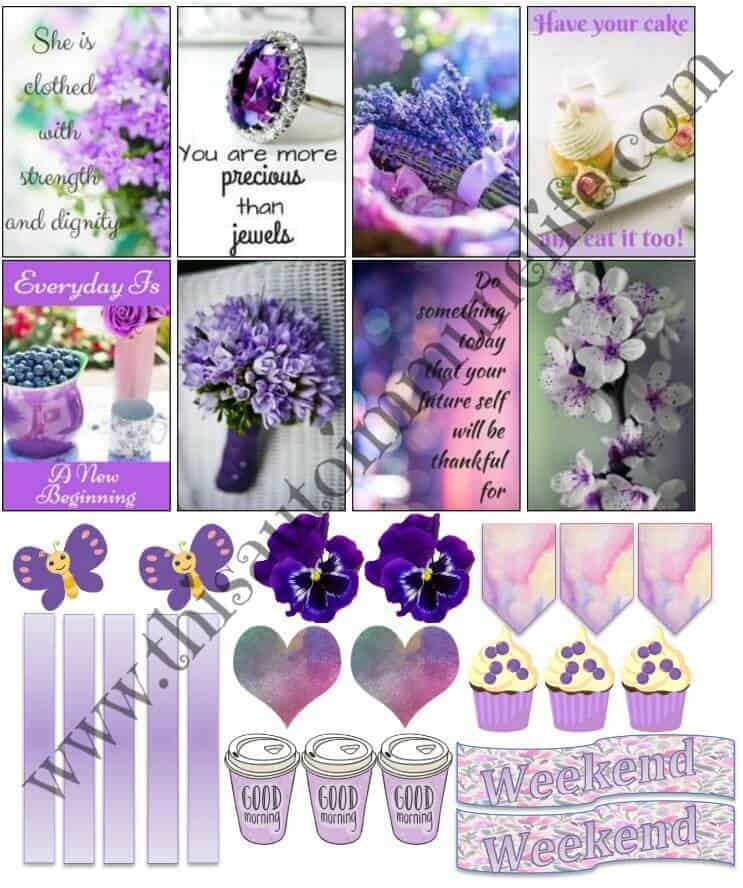Lovely lavender planner stickers for May 2018 from www.thisautoimmunelife.com