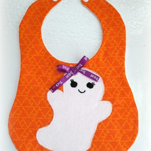 Halloween Ghost Baby Bib for September Monthly Craft Destash Challenge from www.thisautoimmunelife.com