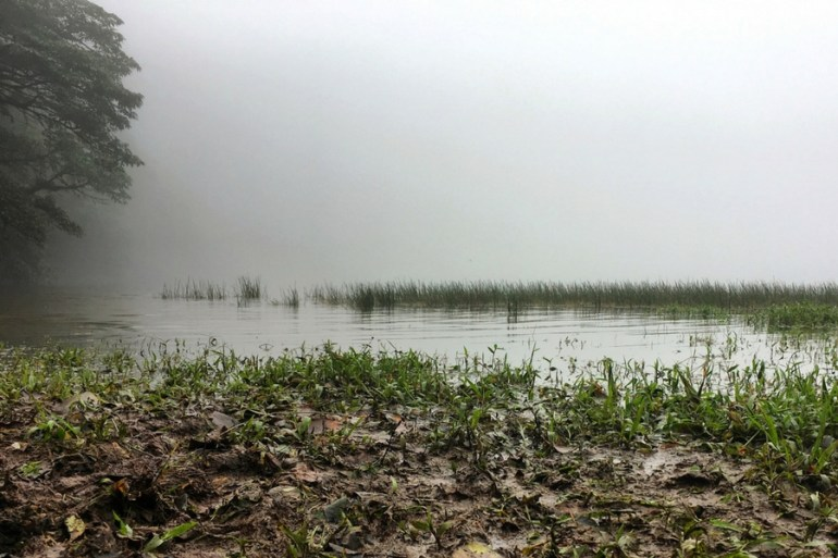 Image of the lake at the top of Volcano Maderas on a misty day on Ometepe Island in Nicaragua.