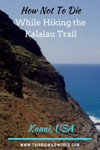 Pin image of the approach to Crawler's Ledge on the Kalalau Trail in Kauai, USA.