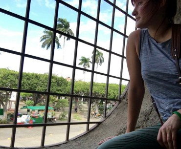 Image of me looking out from Granada Cathedral onto Parque Centrale in Granada, Nicaragua.