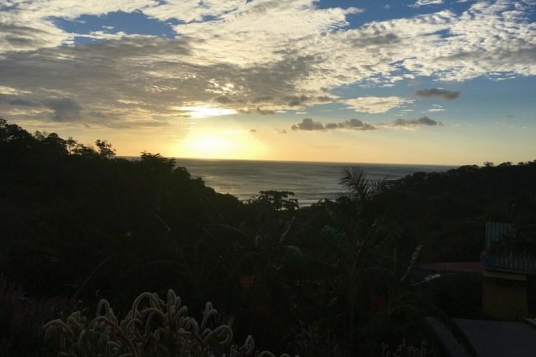 Image of sunset as seen from Hulakai Hotel's pool in Playa Maderas Nicaragua, near San Juan del Sur.