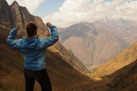 Image of me looking back at the steep climb from the top of Dead Woman's Pass on Day 2 of the Inca Trail hike.