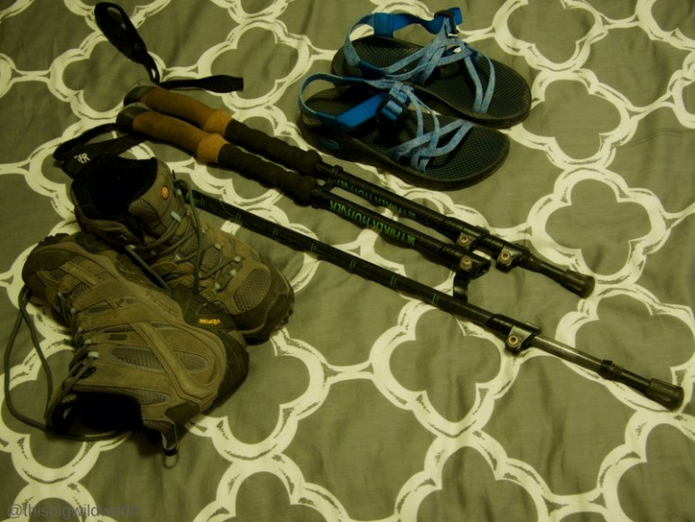 Image of footwear packed for the Inca Trail hike in Peru, including hiking boots and sandals.
