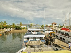 Image taken from the Yasawa Flyer looking at Port Denarau just before departure to Nacula Island in Fiji.