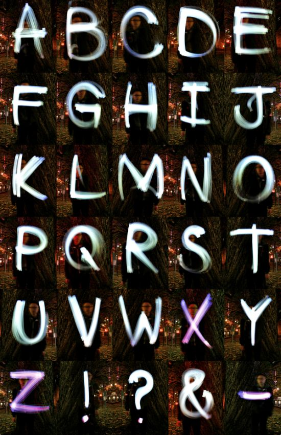 light painting alphabet