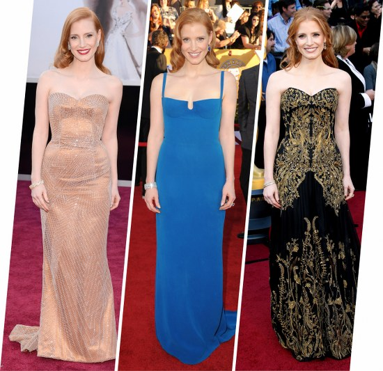 jessica chastain red carpet style