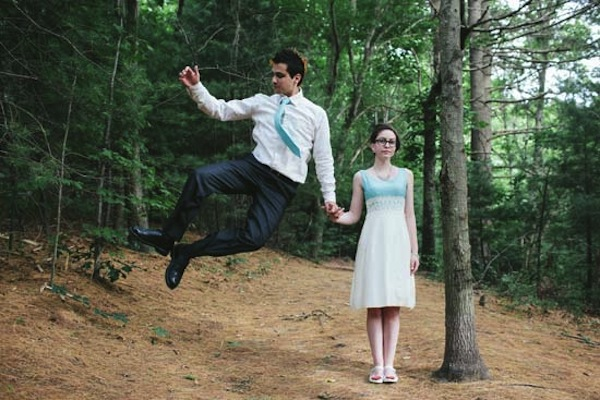 A couple who opted for a non-traditional wedding in the woods.